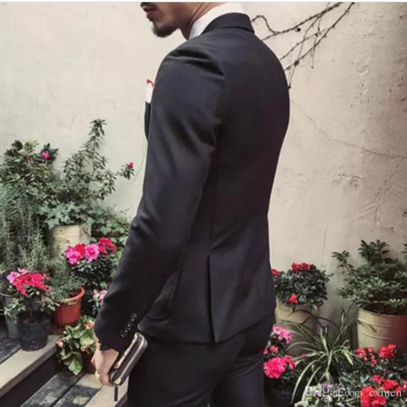 Red Suit Clothing for Men Wedding Suit Slim Fit Groom Tuxedos Handsome Black Man Blazer Suit with Jacket+Pants+Vest