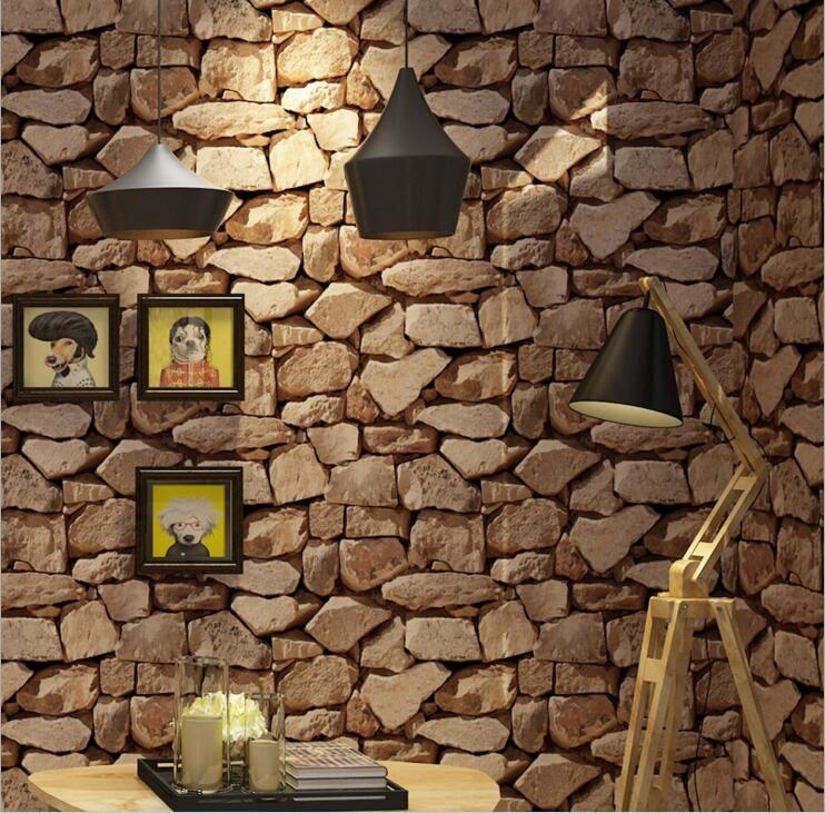 Compre Ladrillo Apilado Moderno Papel Pintado De Piedra 3d Rollo
