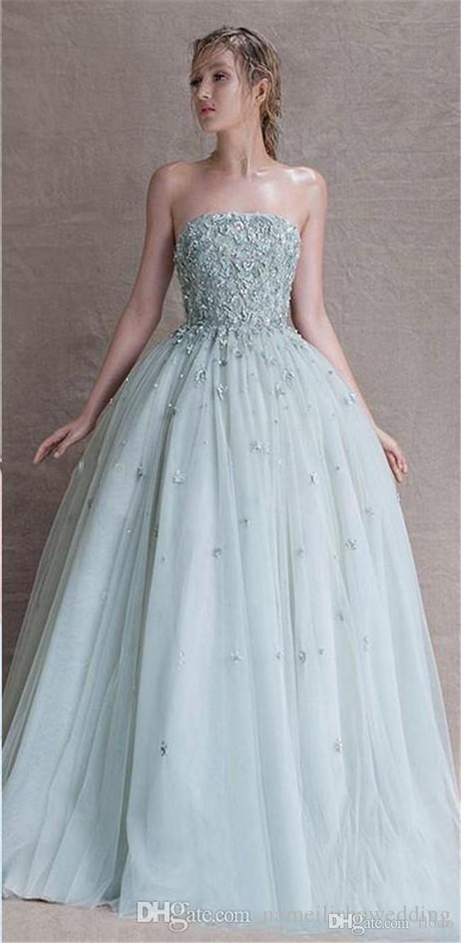 Paolo Sebastian Light Blue A Line Prom Dresses 2018 3D Appliques ...