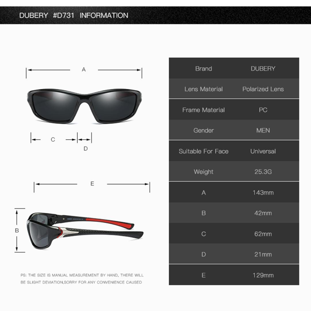 DUBERY Polarisierte Sonnenbrille Radfahren Fahrrad Draussen Angeln Sportbrillen
