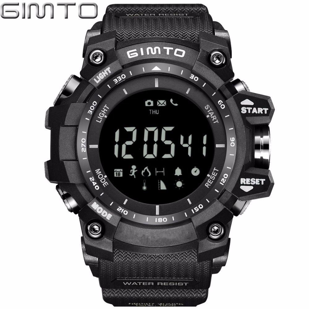 X GIMTO прохладный черный Спорт смарт-часы цифровой военный Силиконовый водонепроницаемый LED шок электронные наручные часы шагомер Smartwatch