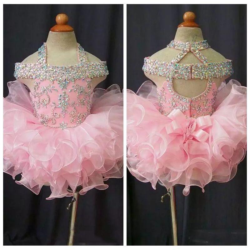 2019 Toddler Pageant Dresses Bling Bling Cupcake Enfants Robes De Bal En Cristal Perlé Dos Ouvert Avec Arc Formal Petites Filles Robe De Fête D'anniversaire