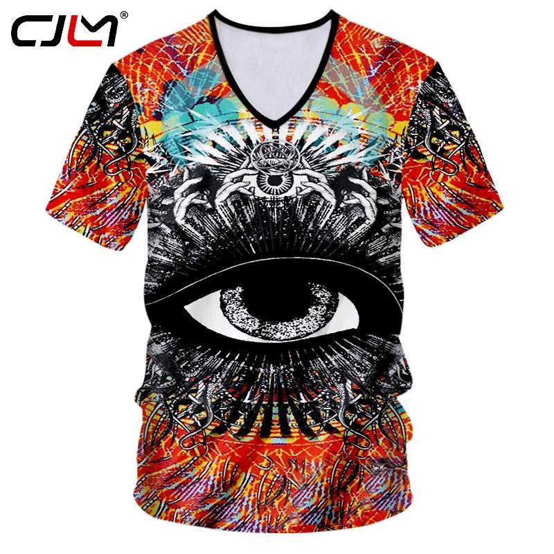 CJLM Skull Tshirt Uomo Stampa Divertente Occhi Magici 3d T-Shirt Uomo Hiphop Sexy Scollo AV Tee Shirts Magliette Casual Maglietta 7XL