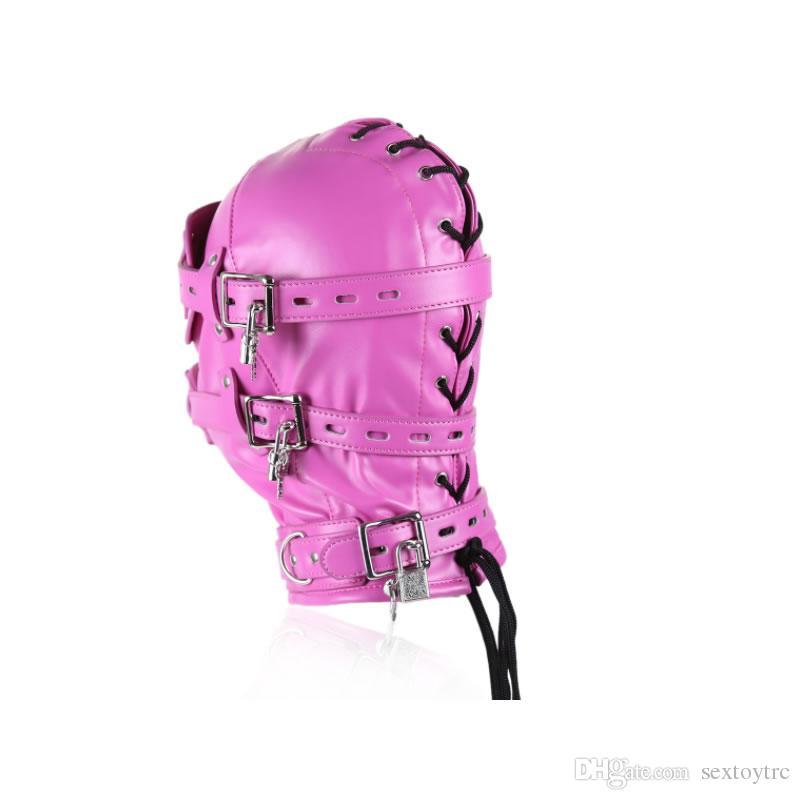 Pad Farbe Bondage Rosa BDSM Leder Mündige Gimp Hood mit abnehmbarem Zubehör Mund Augenmaske Gag Kopf Kabelbaum Sexy Penis Kostüm Ntjml