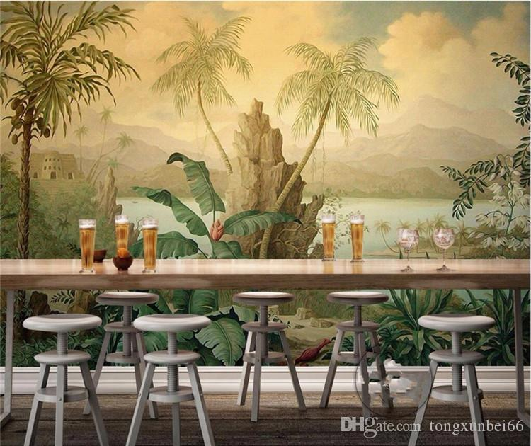 Southeast Asian tropical rain forest individual bedroom background wall paper American living room entrance large fresco green wall covering