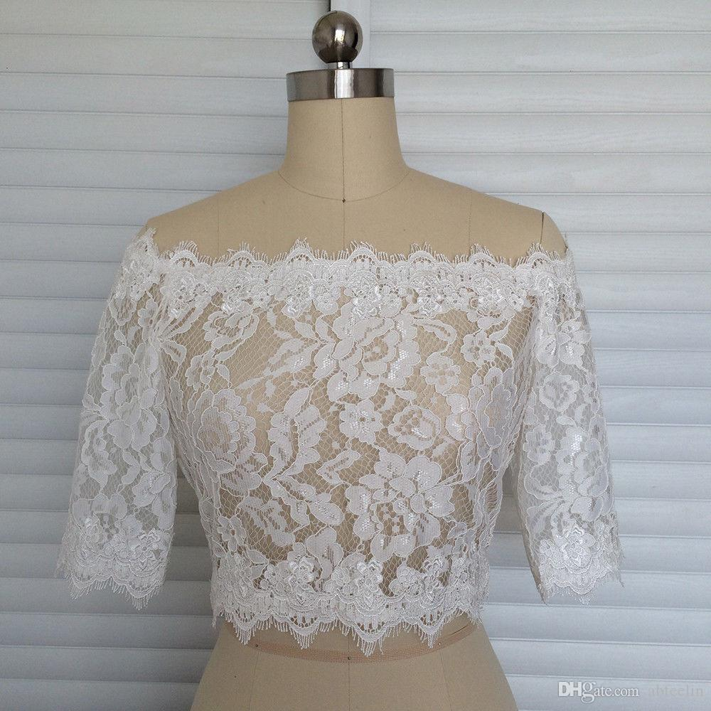 Красивый стиль белых кружев мыс 1/2 рукава Свадебной куртка с кружевом края Хорошего качества невесты Болеро конкурентоспособной ценой