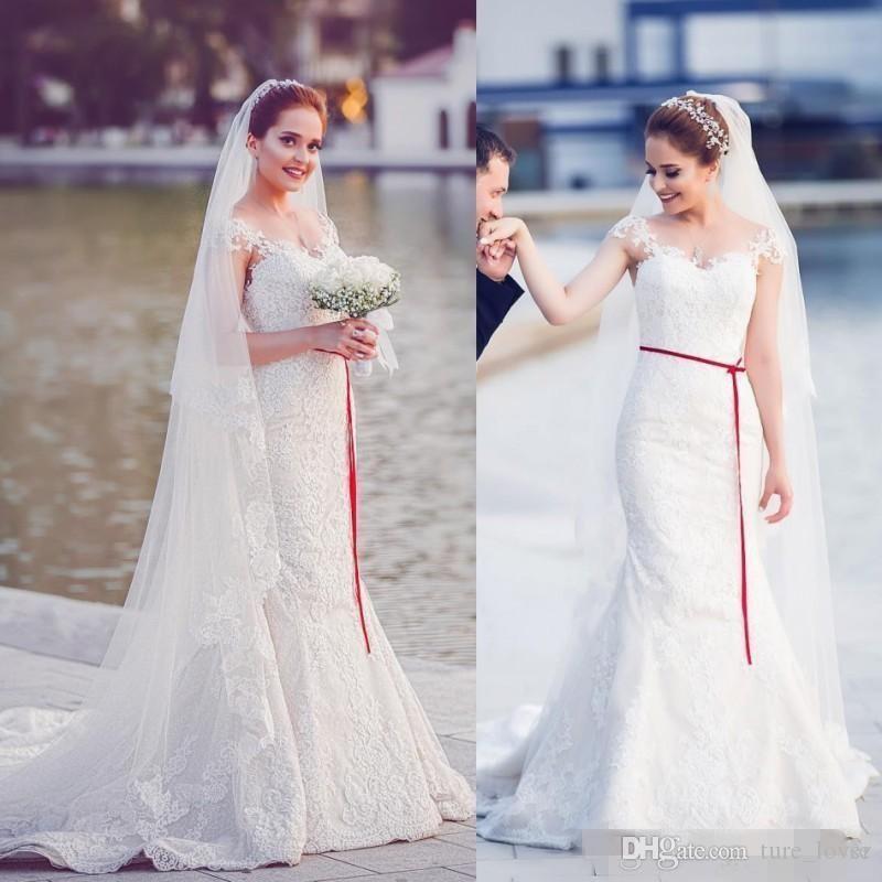 Románticos vestidos de novia blanco cordón de la sirena 2018 Sheer Cap mangas Apliques 3D flora altura del tobillo Vestidos Vestidos de novia por encargo
