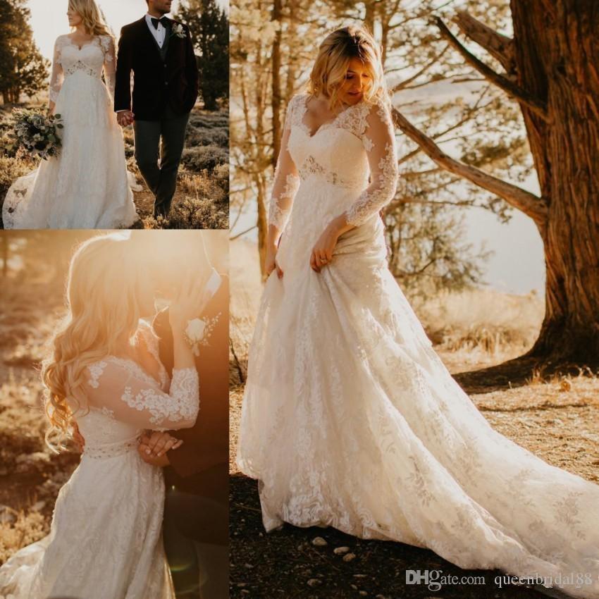 2019 une ligne robes de mariée avec saut à col perlé à col ves manches longues et robes de mariée taille