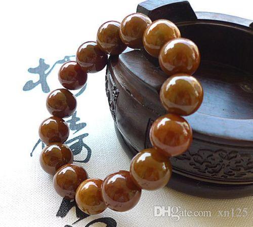 Certified Natural A Brown Yellow JADE Jadeite 13mm Bead Beads Bangle Bracelet