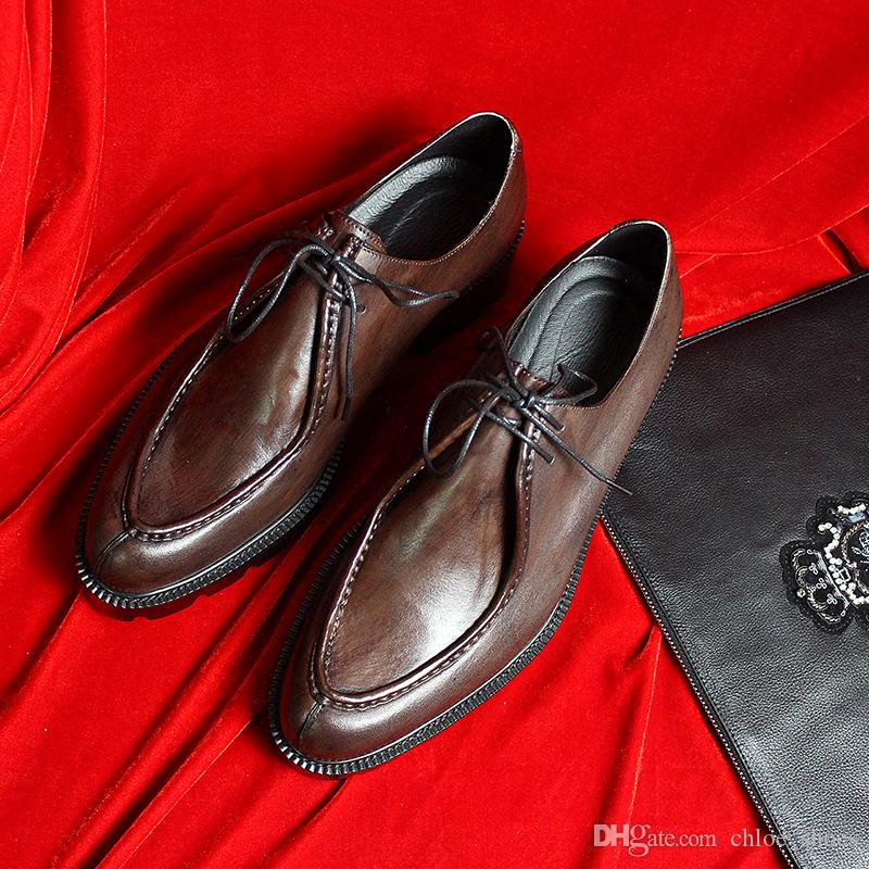 Sapatos De Festa De Casamento Sapatos De Salto Grosso Sapatos De Salto Grosso Feito À Mão Vermelho Marrom Preto de Negócios sapatos de Negócios