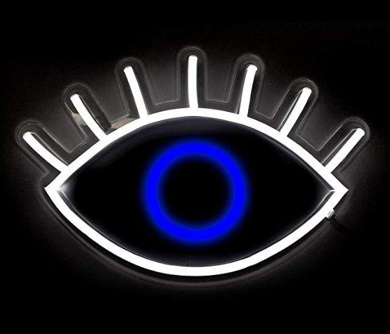 Oliver Gal   Mirando los signos de neón de los ojos Cristal de bricolaje Letrero de neón LED Luz de cuerda flexible Interior / Exterior Decoración Voltaje RGB 110V-240V 17 * 14 pulgadas
