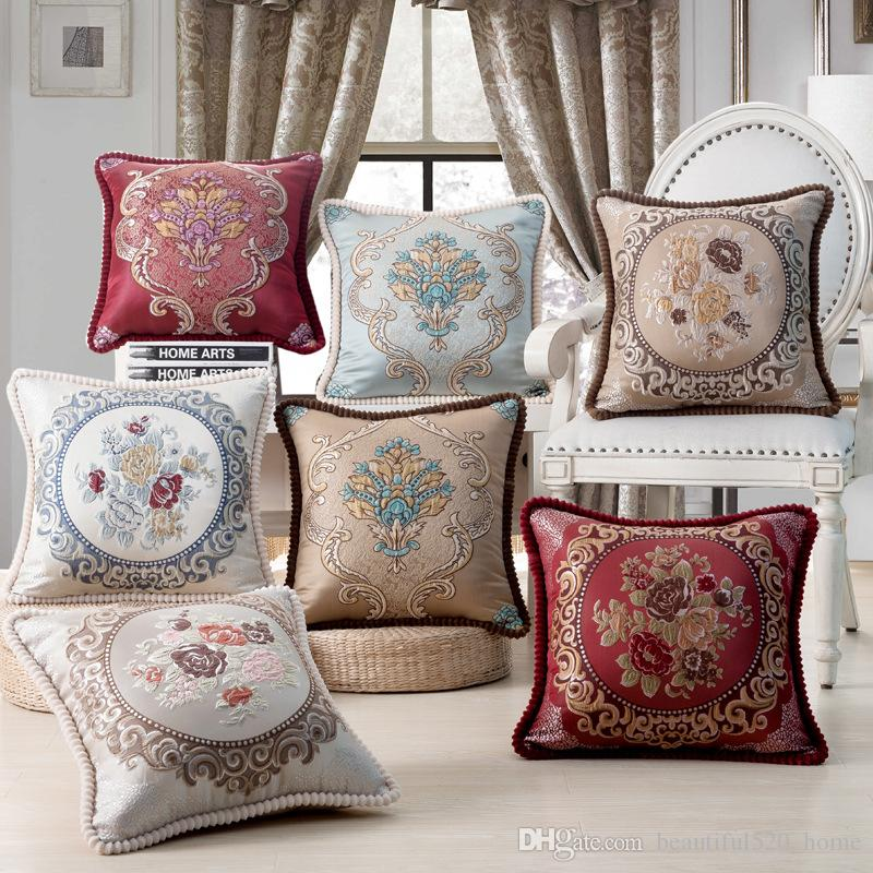 Luxury Seat Cushion Cover European Culture Classical Sofa Throw Pillow Cases Embroidered Floral Home Decorative 18x18 Pillow Covers BH18048