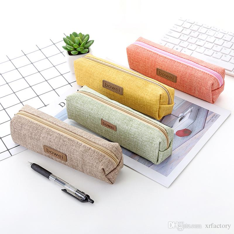 Korean Pencil Bag Student Solid color PU Large Capacity Pencil Case Pen Box School Office Stationery Supplies