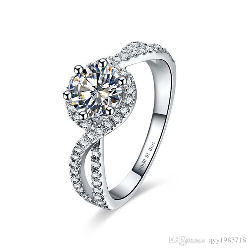 Dropshipping 1CT 파도 모양 합성 다이아몬드 약혼 반지 여성을위한 925 스털링 실버 주얼리 18K 화이트 골드 도금 반지