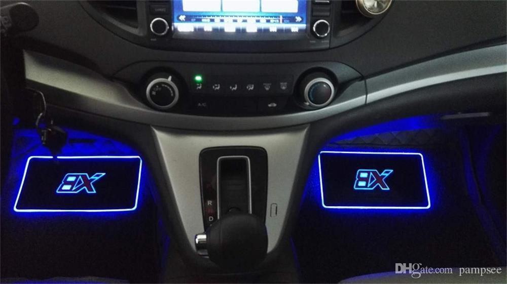 PAMPSE 4pcs 자동차 내부 분위기 램프 바닥 매트 LED 장식 램프 APP 제어 다채로운 깜박이 라이트 RGB 원격