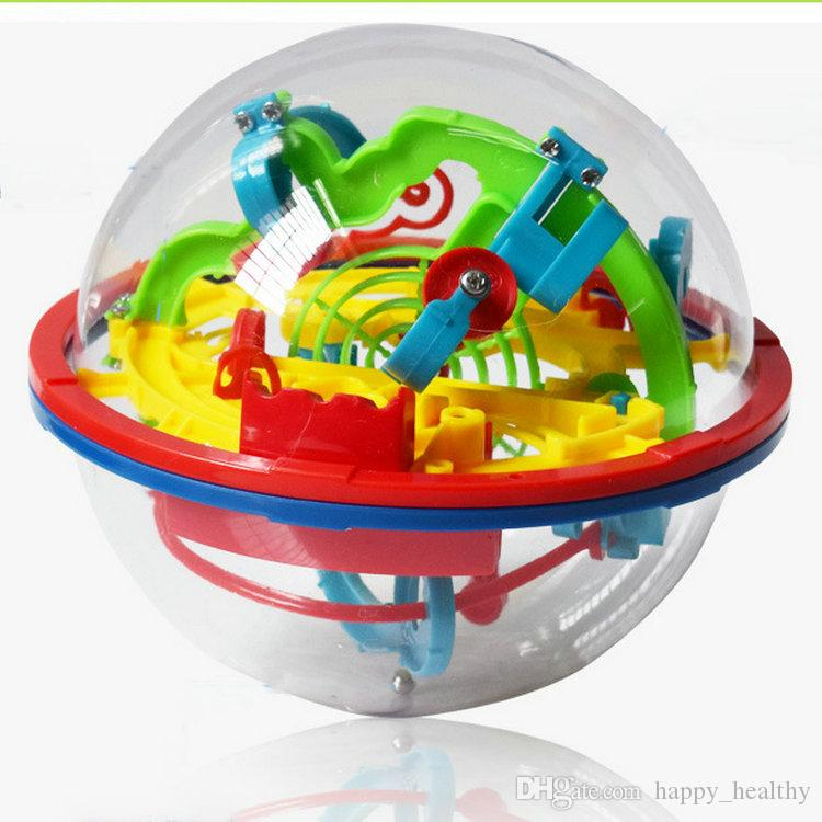 Hot Labyrinth 100 Barriers Funny 3D Puzzle Maze Ball magical intellect ball Space Intellect orbit track Game Stages Kids Toy Gift DHL 18pcs