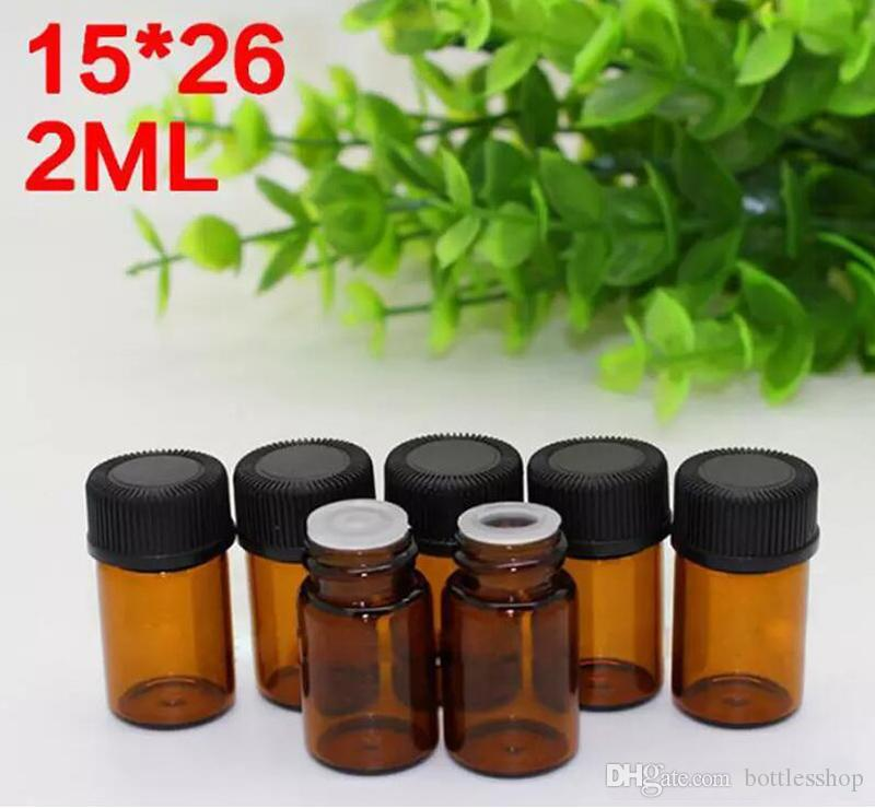 Wholesale 4320pcs/lot Mini Amber Glass Bottles 2ml Brown Sample Vial Small Perfume Bottles With Tip And Black Screw Cap