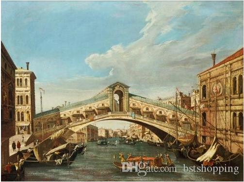 Venice Harbor Free Shipping,Pure Hand-painted & HD Print Classical Landscape Art Oil painting On Canvas,Home Decor Wall Art l205