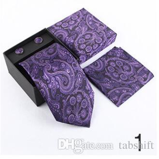 hommes d'affaires cravate serviette de poche cravate hommes costume Jacquard coffret cadeau cufflink est disponible en gros