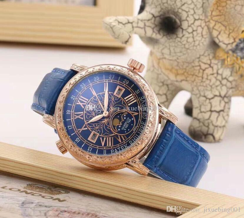 Alta qualidade da moda Complexo função de temporização série homens e mulheres do movimento cinto de aço relógio de quartzo homens relógio dobrável fivela