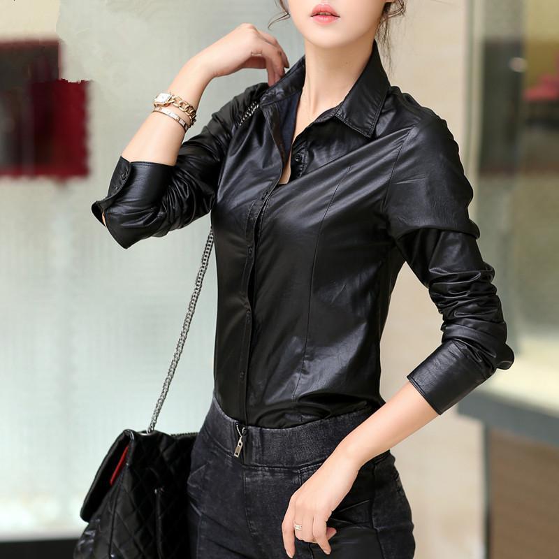 e75eb4713c4f7c1 Pu Leather Black Tops Женская кожаная рубашка, модная повседневная блузка  осень-зима, женские