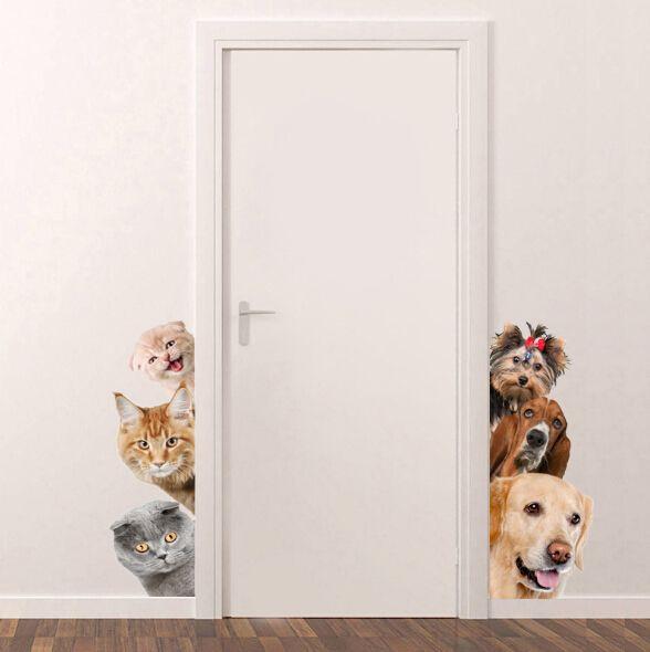 3D gato perro puerta pegatinas de pared extraíble sala de estar porche dormitorio tatuajes de pared animales Mural arte papel pintado lindo divertido mascotas pegatinas de pared