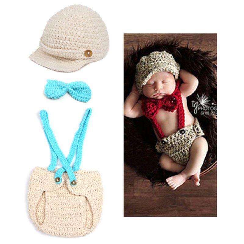 Accesorios para bebés Accesorios para fotos Little Gentleman Niño tejido a mano de ganchillo traje corbata corbata sombrero pañal cubierto recién nacido ropa