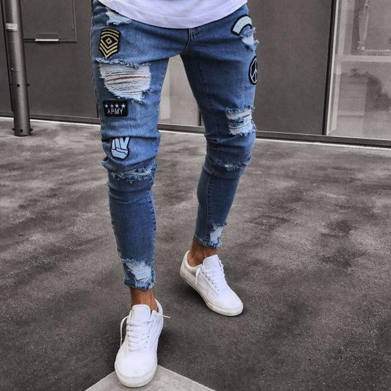 2018 Embroidered Man Slim Men Trousers NEW Blue Men's Casual Summer Young Hole Jeans Classic Cowboys Thin Denim Black Pants Scjmq