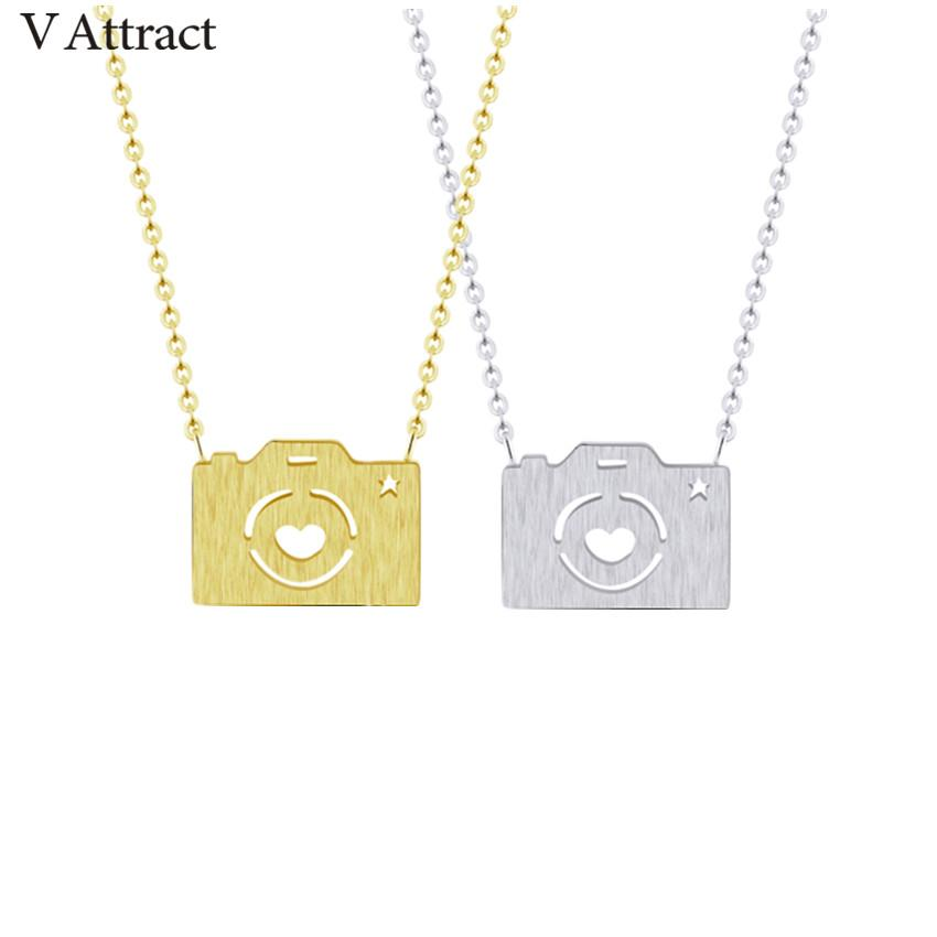 wholesale 10pcs Vintage Camera Necklace Women and Men Jewelry Stainless Steel Chain Choker Collier Bohemian Jewelry BFF Gift