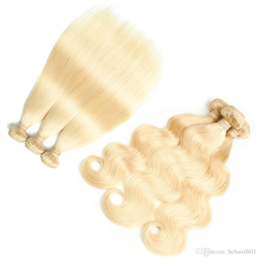 브라질 처녀 머리 10 번들 613 금발의 인간의 머리 확장 스트레이트 바디 웨이브 번들 페루 레미 머리 직조 인도 무료 배송