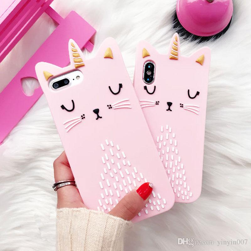 For iPhone 8 XS Max XR 7 6 5 SE Luxury 3D Cute Cartoon Pink Cat Soft Rubber Silicone Shockproof Protective Case Cover For Girls Kids Women
