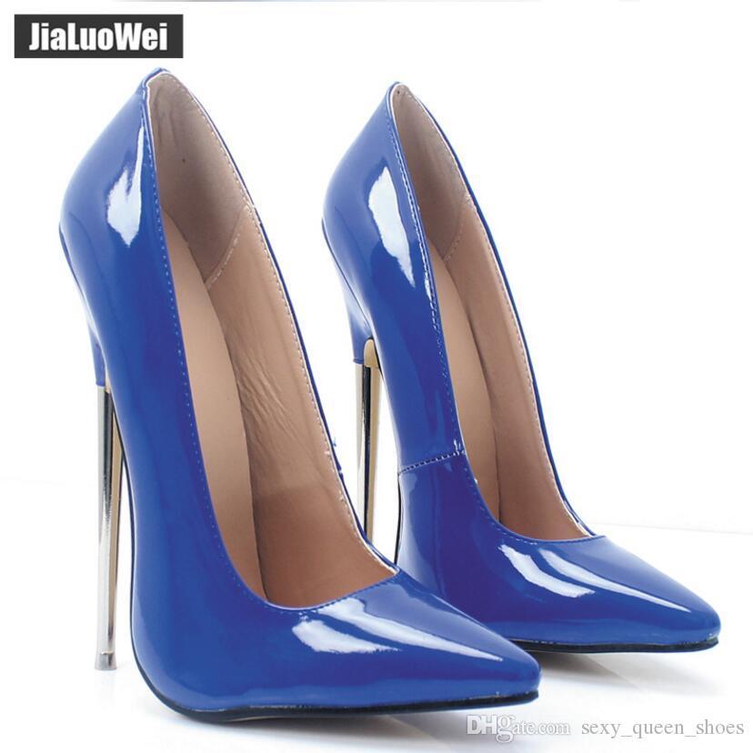 2018 Yeni 18cm Ultra Kadınlar yüksek topuklu seksi Fetiş Stiletto İnce Topuklar Bayanlar Düğün Ayakkabıları Man mavi Cosplay ayakkabı Sivri Toe pompaları