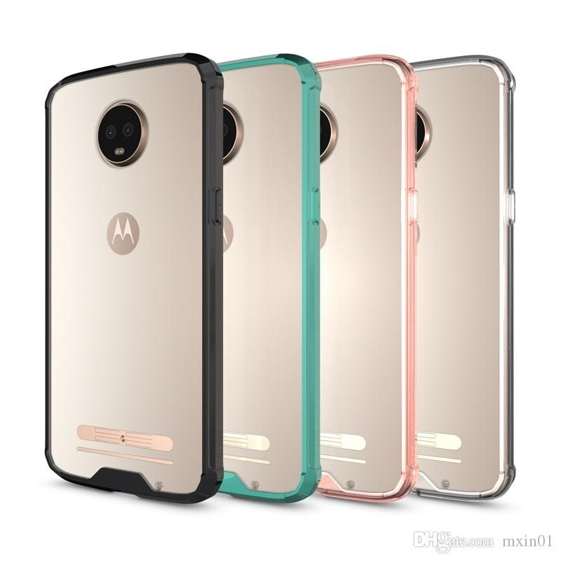 Crystal Transparent Armor 2 in 1 Hybrid Soft Bumper Clear Hard Acrylic Back Cover Case For MOTO G4 G5 G5S G6 Plus Z Droid Z2 Z3 Play