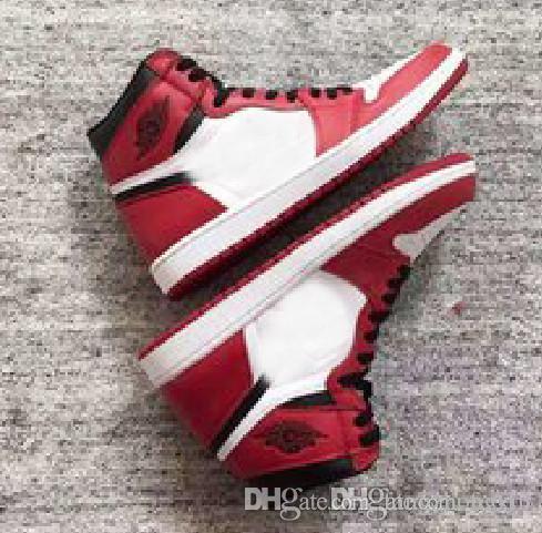 2018 Yeni Top 1 OG Yüksek Yasaklı Siyah Kırmızı Beyaz Erkekler Rahat Ayakkabılar Kadın Spor Kaykay Ayakkabı Atletik Eğitmenler Erkek Sneakers