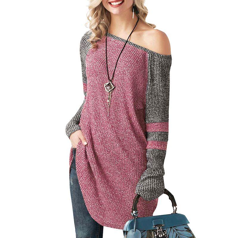 Женщины вязаный свитер женский пуловер корейский мода длинные топы 2018 осень зима с плеча с длинным рукавом сращивания трикотаж