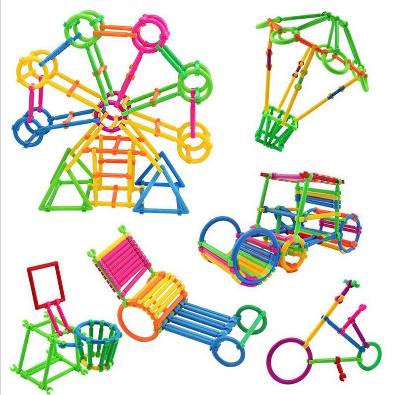 Quebra-cabeça de plástico colorido inteligentes Blocos da vara do jardim de infância montado jogos infantis Brinquedos Educativos inteligentes vara Building Blocks Magia Vara