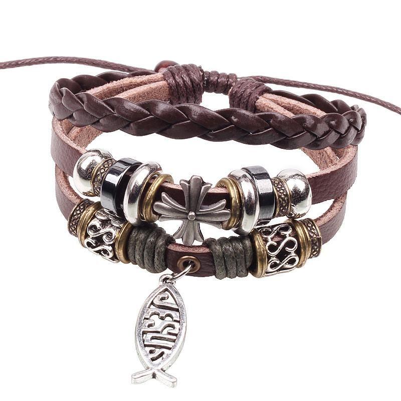 Hot seling 24 pz / lotto retro croce in pelle braccialetti di fascino con ciondolo christian rivet braccialetti europei gesù gioielli ciondolo kka1894