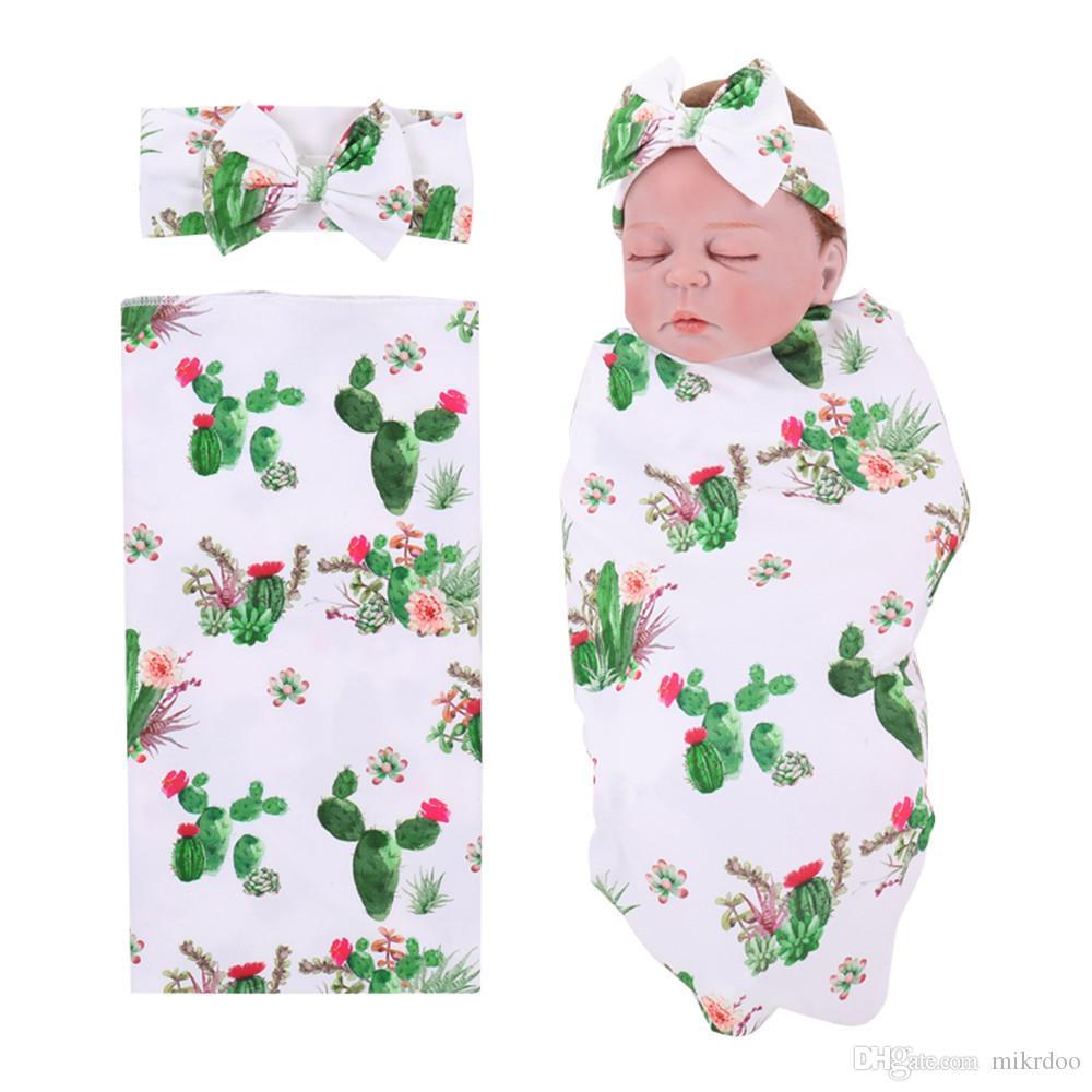 Mikrdoo 2018 novo recém-nascido recém-nascido bebê meninos meninas recebendo cobertor algodão desenhos animados cacto impressão swaddle e roupa de cabeça