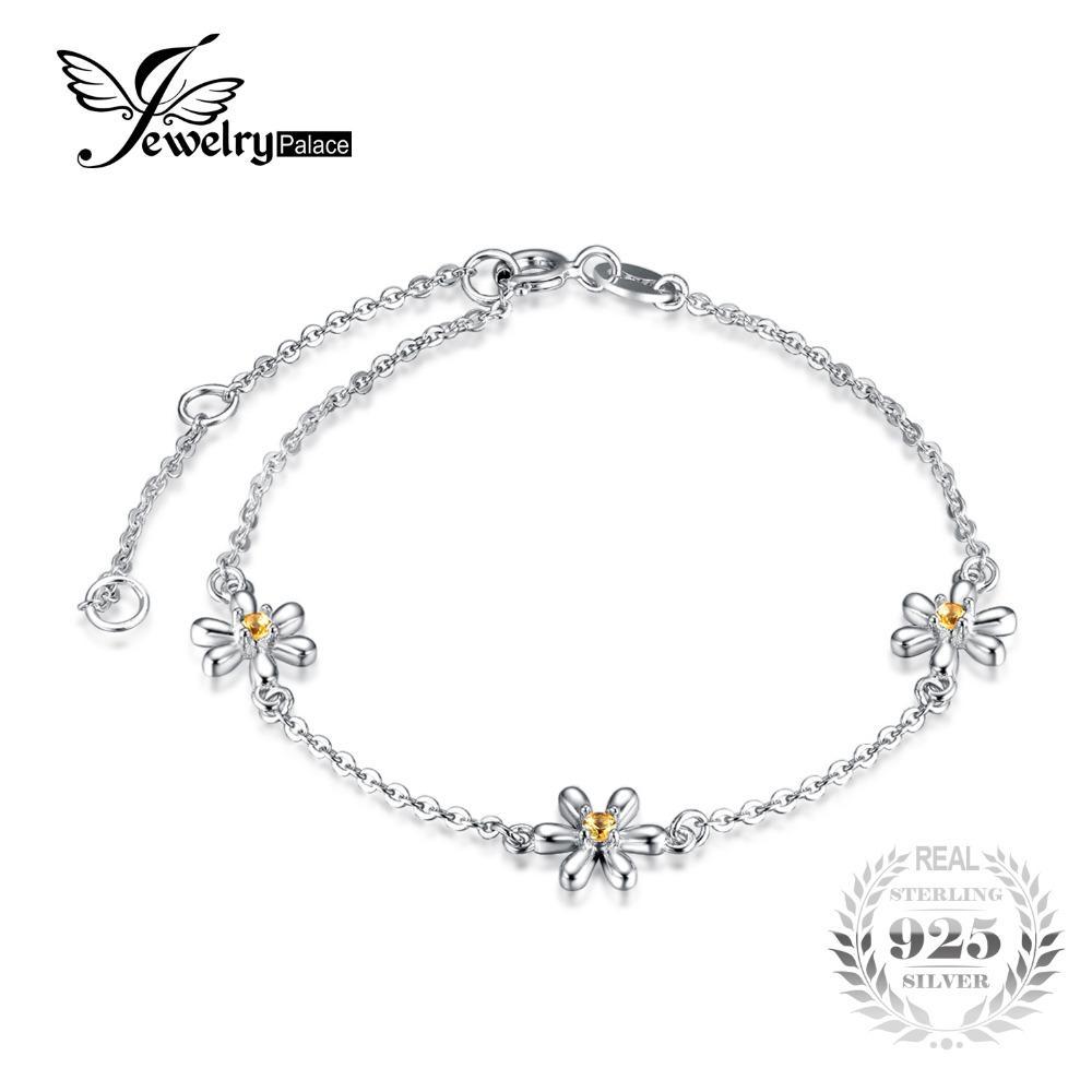 JewelryPalace Fleurs 0.1ct Créé orange saphir cheville Bracelet Argent 925 Accessoires Bijoux Romantique meilleur cadeau