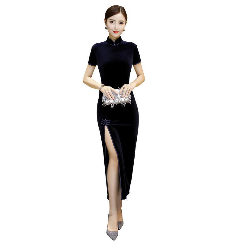 Nouveau long sexy de l'automne / hiver Velour Cheongsams Vintage femmes chinoises longue robe de velours cheongsam qipao robe de soirée