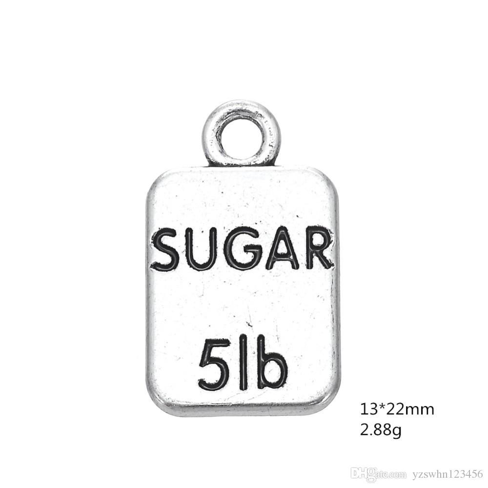 Bolsa de azúcar 5 libras grabados encantos joyas hallazgos decoración colgantes joyería que hace el encanto del mensaje