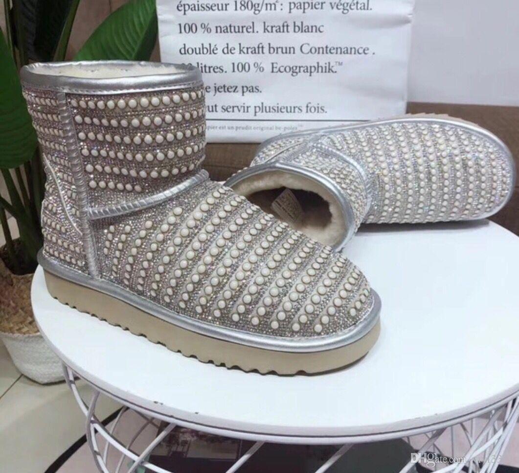 Nouvelle bottes de neige de qualité supérieure bottes pour femmes chauds Australie marque noir rose argent semelle de fourrure de fourrure femmes bottes fille # N60