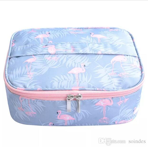 Flamingo waterproof Women Makeup bag Cosmetic bag Case Travel Make Up Toiletry Organizer Storage pouch set box professional