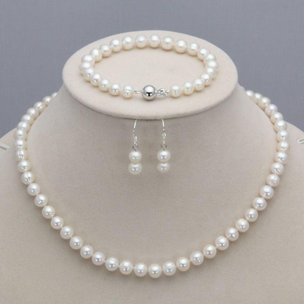 Set di gioielli di gioielli con collana per perle d'acqua dolce naturale 8-9mm