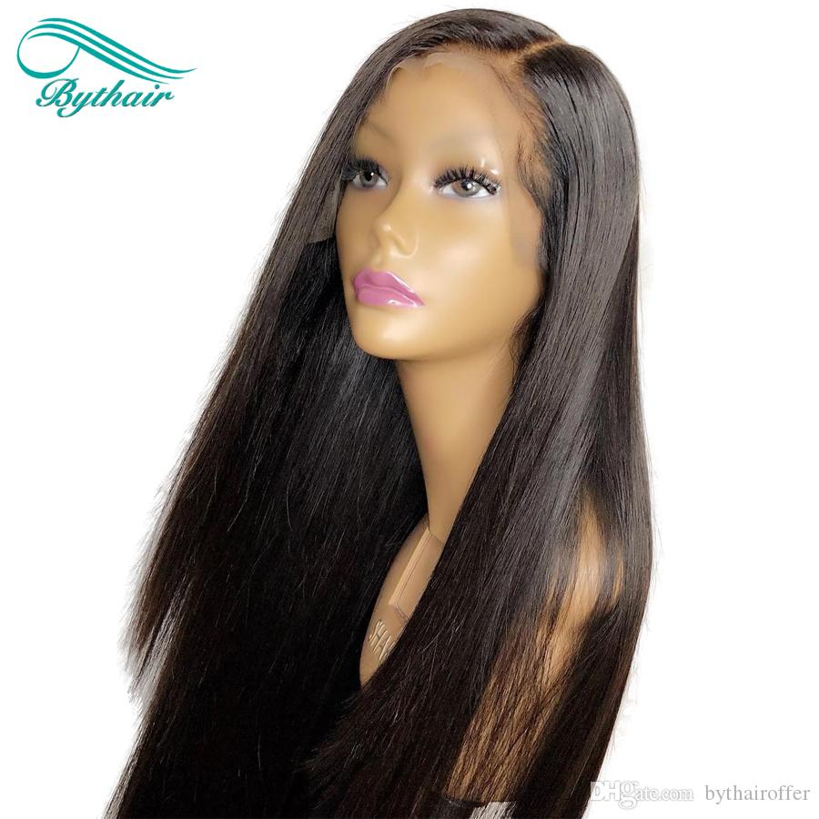 Bashair seidige Gerade volle Spitze menschliche Haare Perücken jungfräulicher Haarspitze Frontperücke mit Babyhaaren Prepucked Hairline gebleichte Knoten