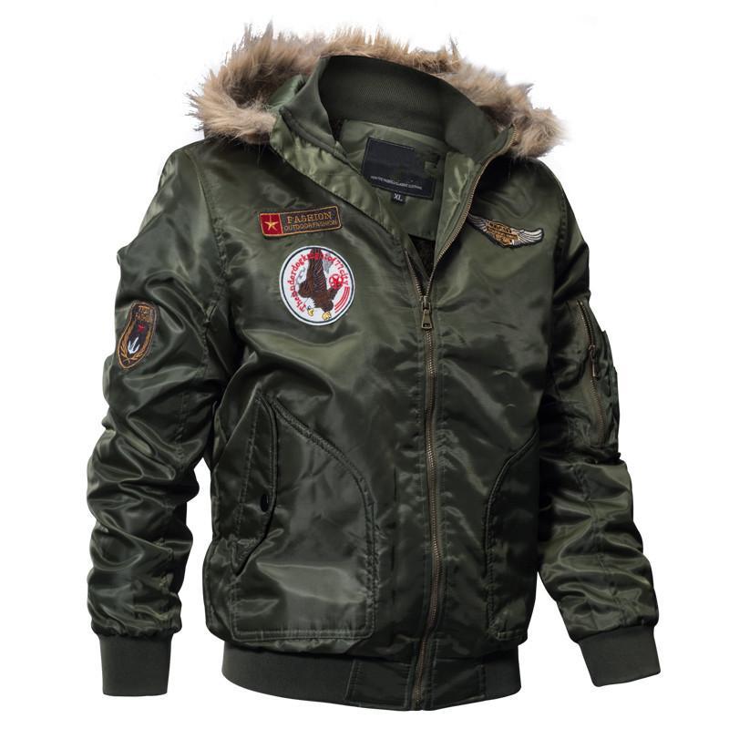 Inverno Bomber Jacket Men Army Tactical casaco quente de lã Liner Casacos de Down parkas com capuz Brasão Pilot M-4XL