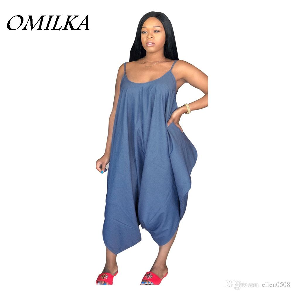 OMILKA 2018 Summer Women Spaghetti Strap O Neck Harem Denim Rompers and Jumpsuits Casual Loose Backless Jeans Plus Size Overalls