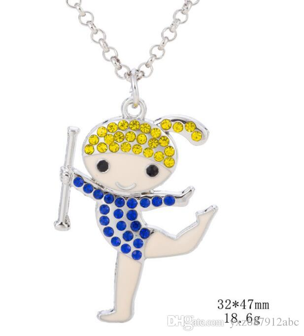 New Arrival Studded With Crystal Cartoon Cheerleader Cheer Gymnastics Girl Charms Pendant Necklace Jewelry