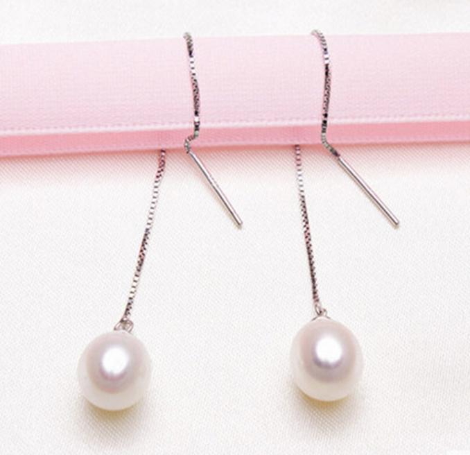 1 Paar 8-9mm Reisform Weiß Natürliche Süßwasser Perle Ohr Linie Mode Ohrring S925 Tremella Nagel