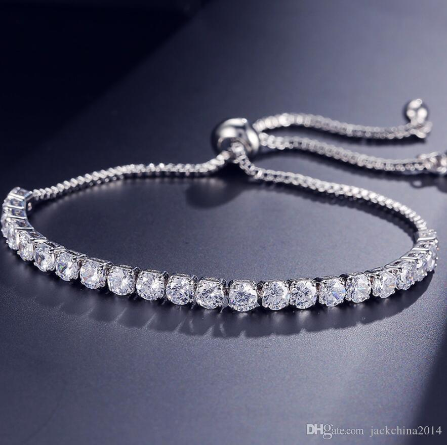 New Brand Simple Fashion Jewelry Hot Sale 18K White Gold Filled Multi Gemstones CZ Diamond Pulling Adjustable Lucky Bracelet For Women Gift